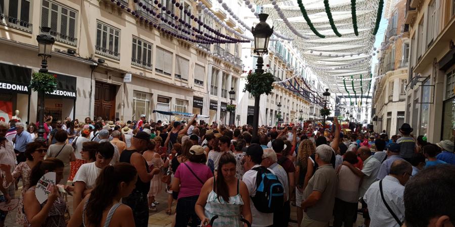 Calle Larios durante la Feria de Málaga 2017
